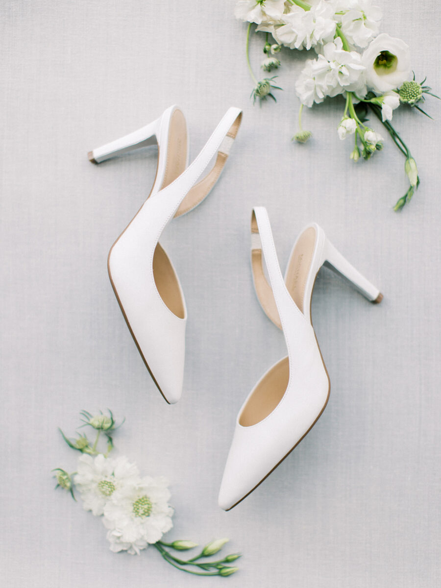 Strappy white wedding shoes: Clean & Modern Styled Shoot at 14TENN featured on Nashville Bride Guide
