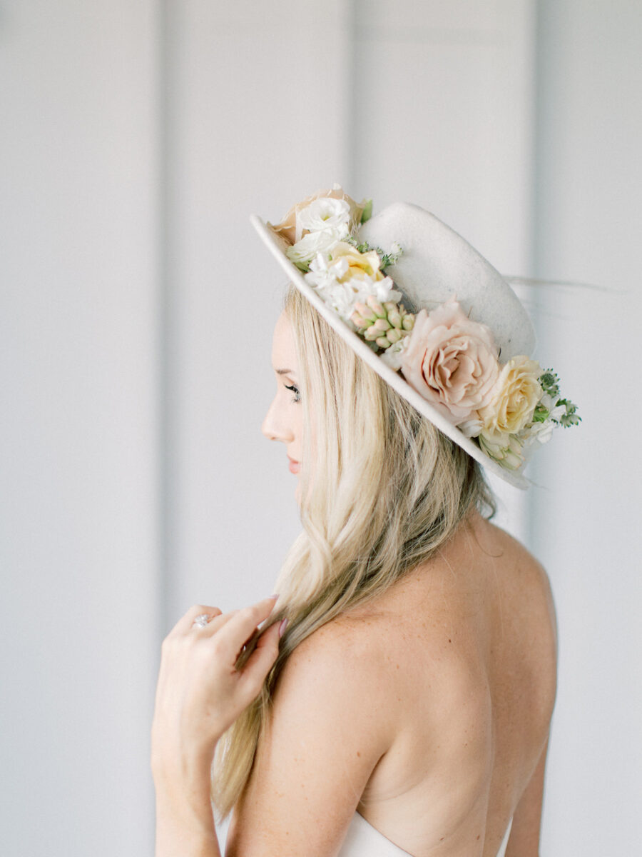 Floral bridal hat: Clean & Modern Styled Shoot at 14TENN featured on Nashville Bride Guide