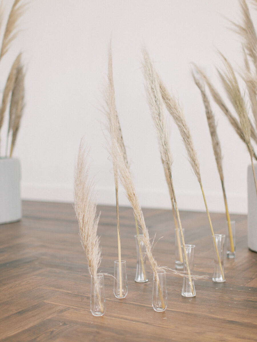 Pampas grass wedding ceremony decor: Clean & Modern Styled Shoot at 14TENN featured on Nashville Bride Guide