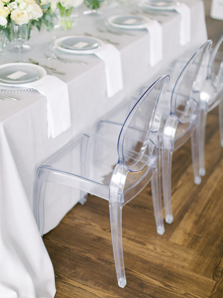 Clear modern wedding chairs: Clean & Modern Styled Shoot at 14TENN featured on Nashville Bride Guide