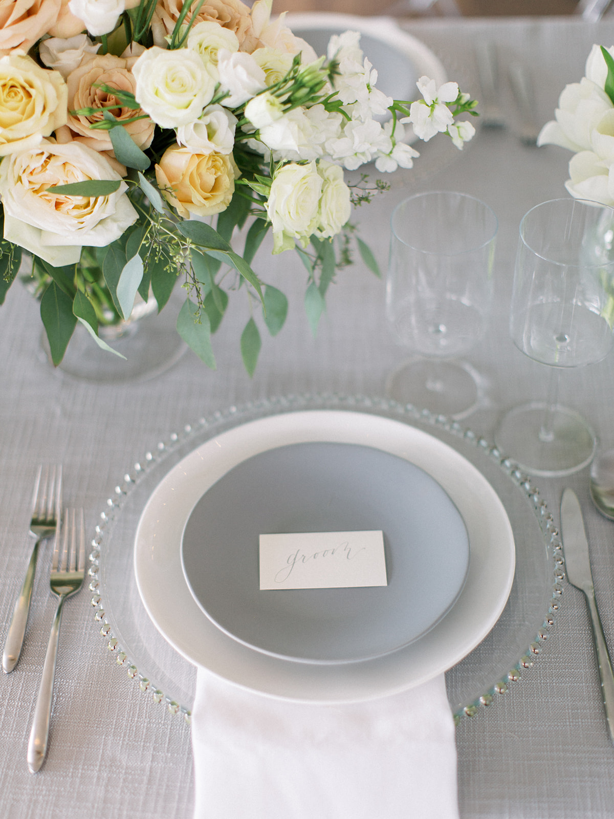 Gray and white wedding table setting: Clean & Modern Styled Shoot at 14TENN featured on Nashville Bride Guide