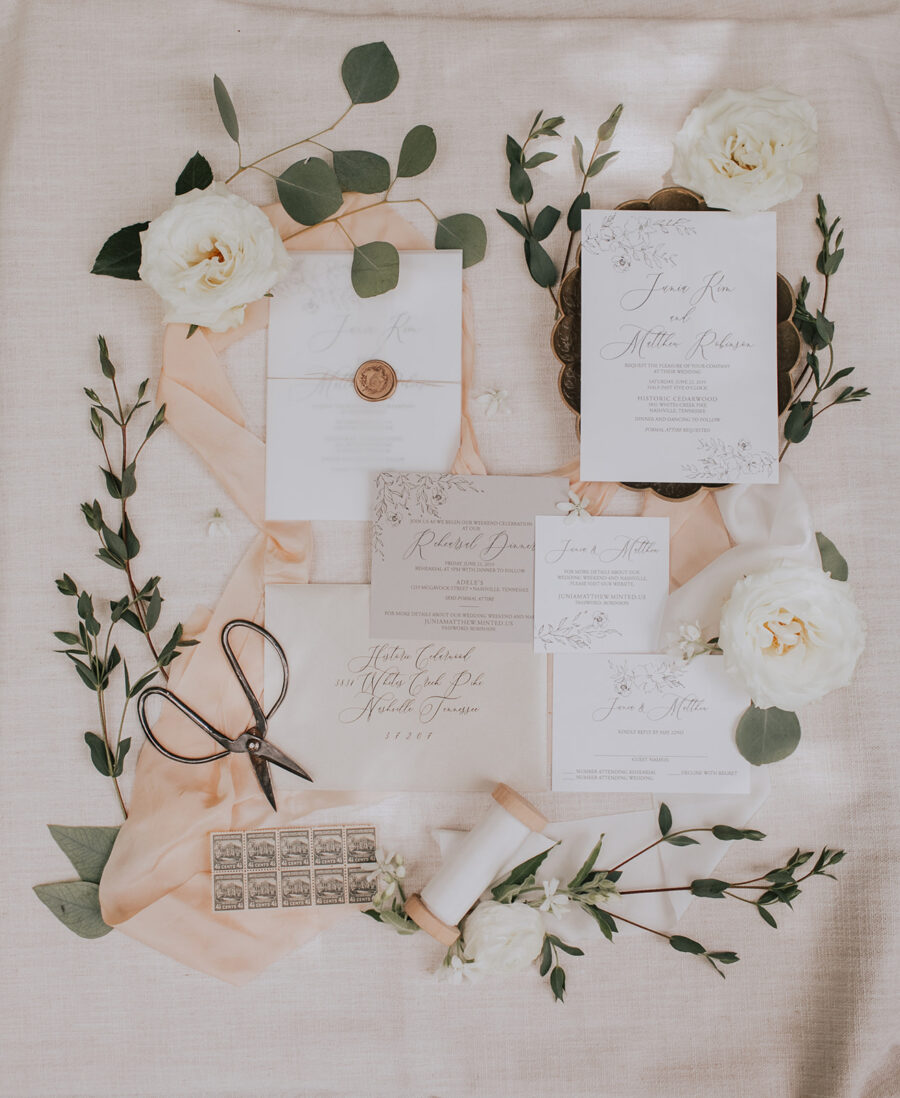 Designs In Paper Invitations: Summer Soiree at Cedarwood Weddings featured on Nashville Bride Guide