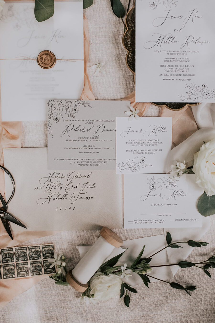 Elegant wedding invitations: Summer Soiree at Cedarwood Weddings featured on Nashville Bride Guide