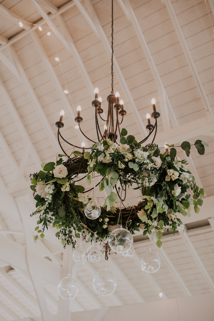 Floral wedding chandelier: Summer Soiree at Cedarwood Weddings featured on Nashville Bride Guide