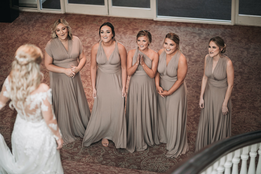 Bridal party first look: Romantic Country Club Soiree by Juniper Weddings featured on Nashville Bride Guide