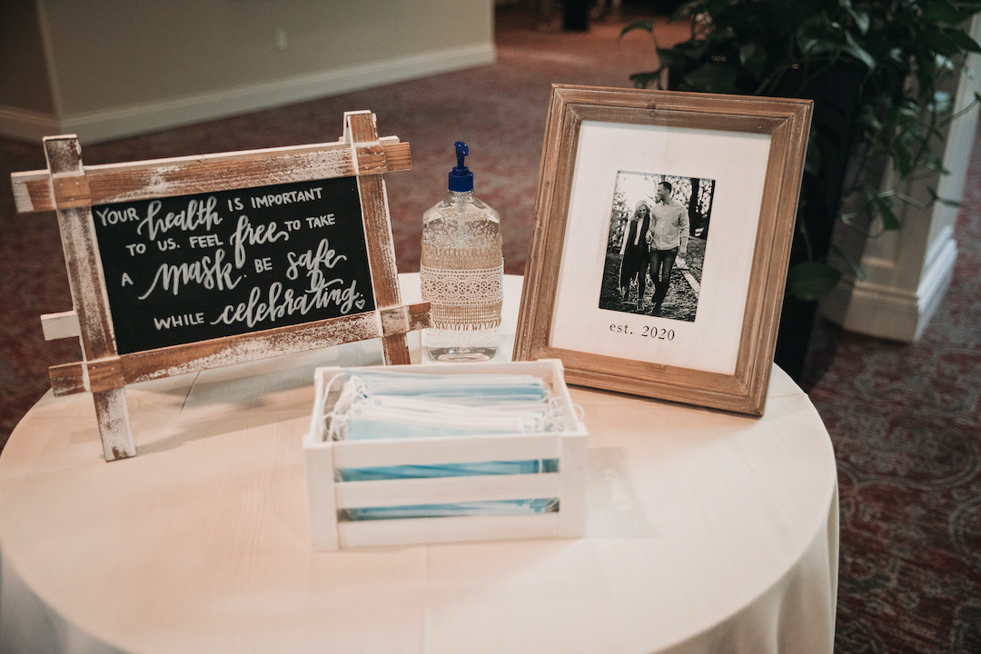 Covid masks and sign: Romantic Country Club Soiree by Juniper Weddings featured on Nashville Bride Guide