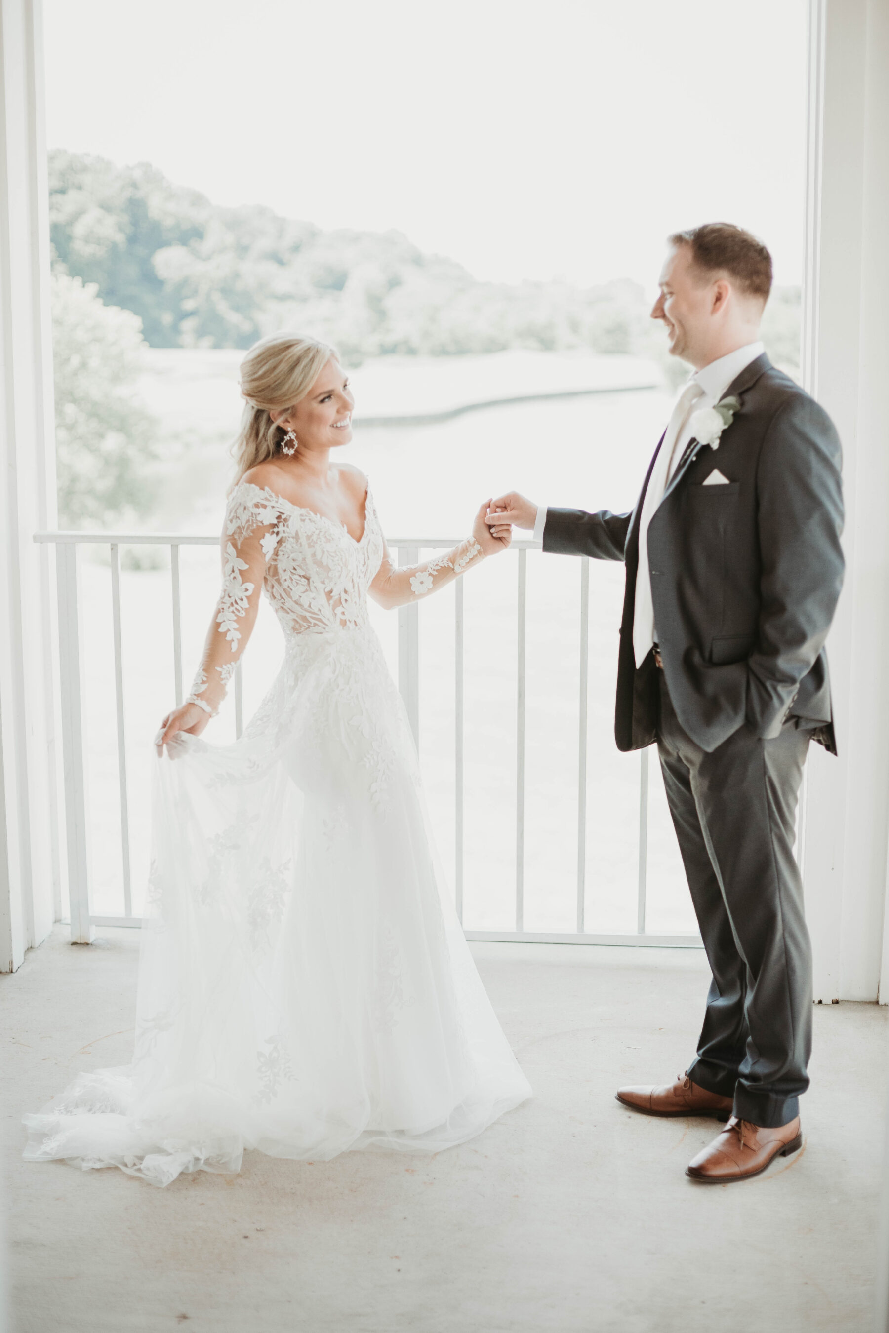 Wedding first look: Romantic Country Club Soiree by Juniper Weddings featured on Nashville Bride Guide