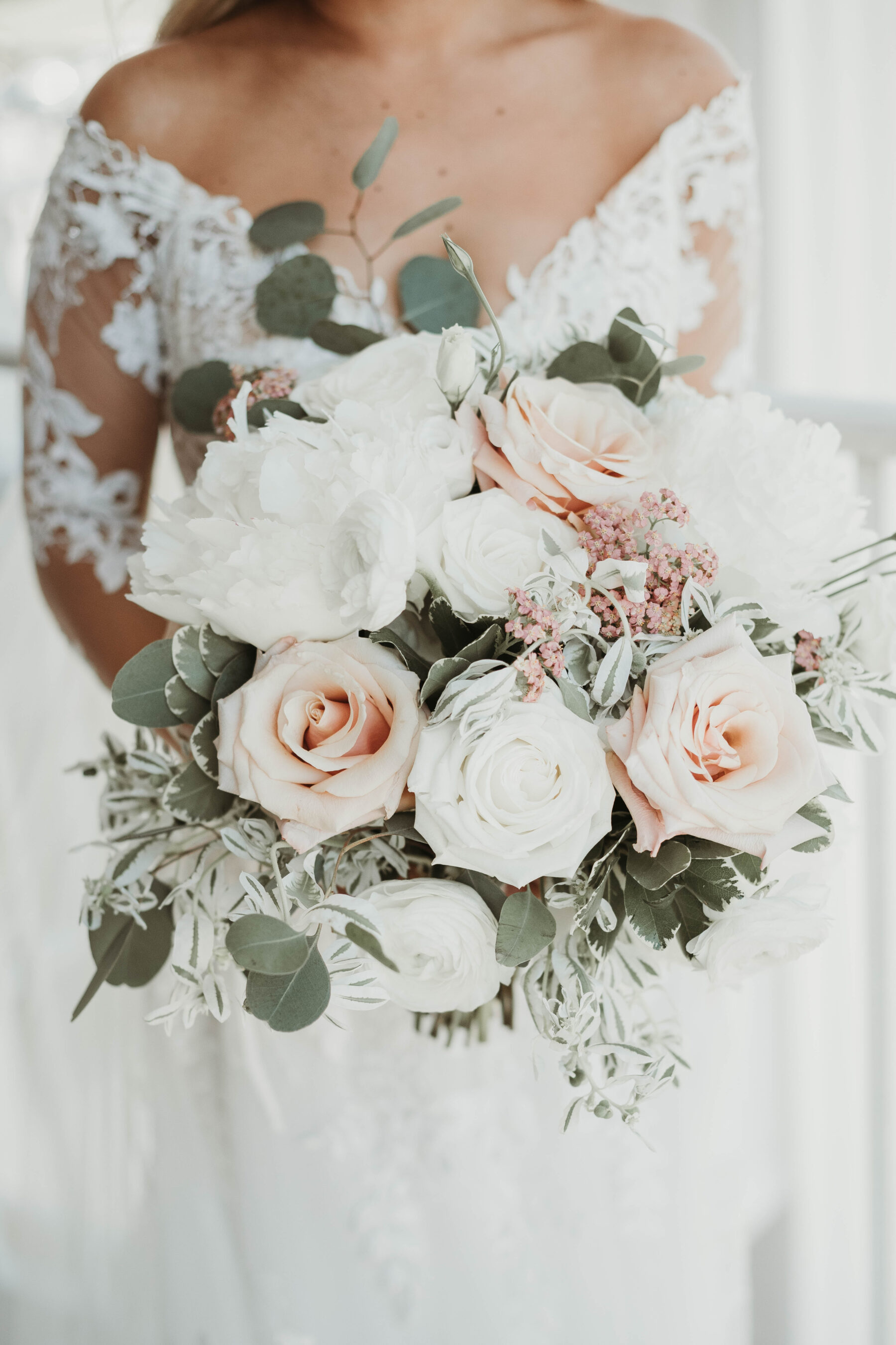 Blush and white wedding bouquet: Romantic Country Club Soiree by Juniper Weddings featured on Nashville Bride Guide