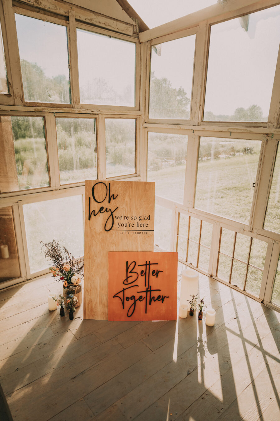 Intimate wedding decor sign: Flower Farm Styled Shoot by Billie-Shaye Style featured on Nashville Bride Guide