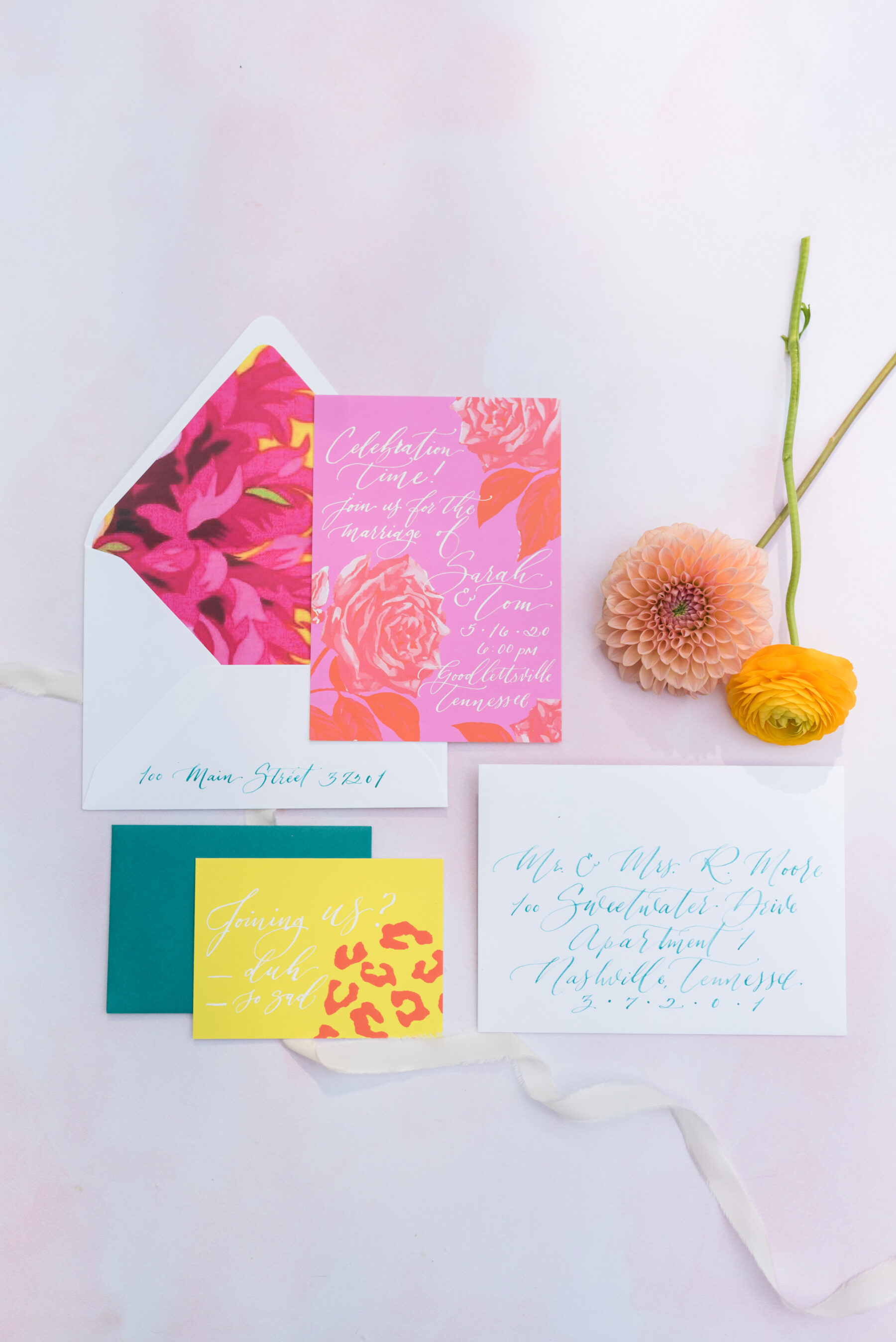 Bright colored wedding invitations by White Ink Calligraphy