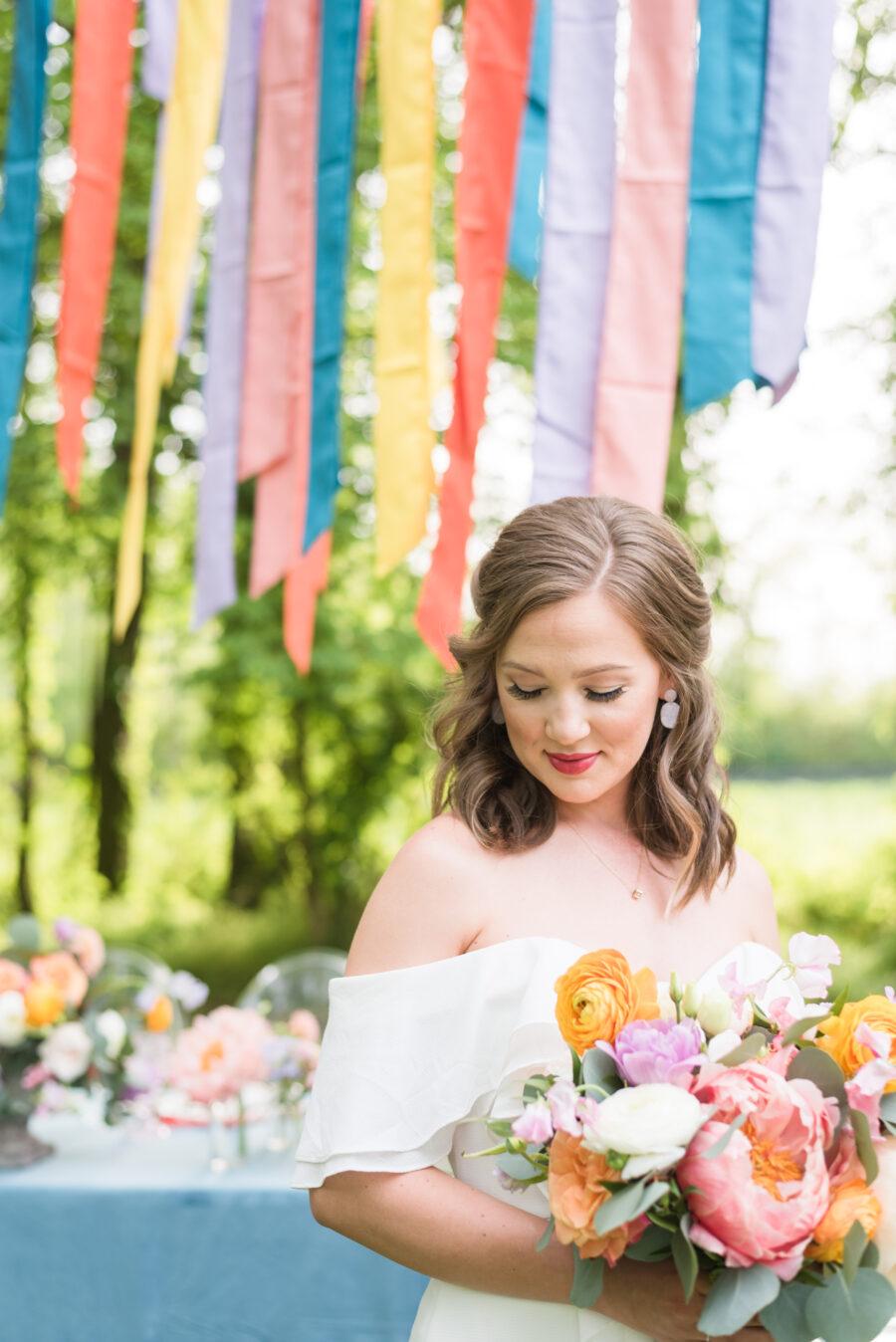 Colorful backyard wedding bridal portrait