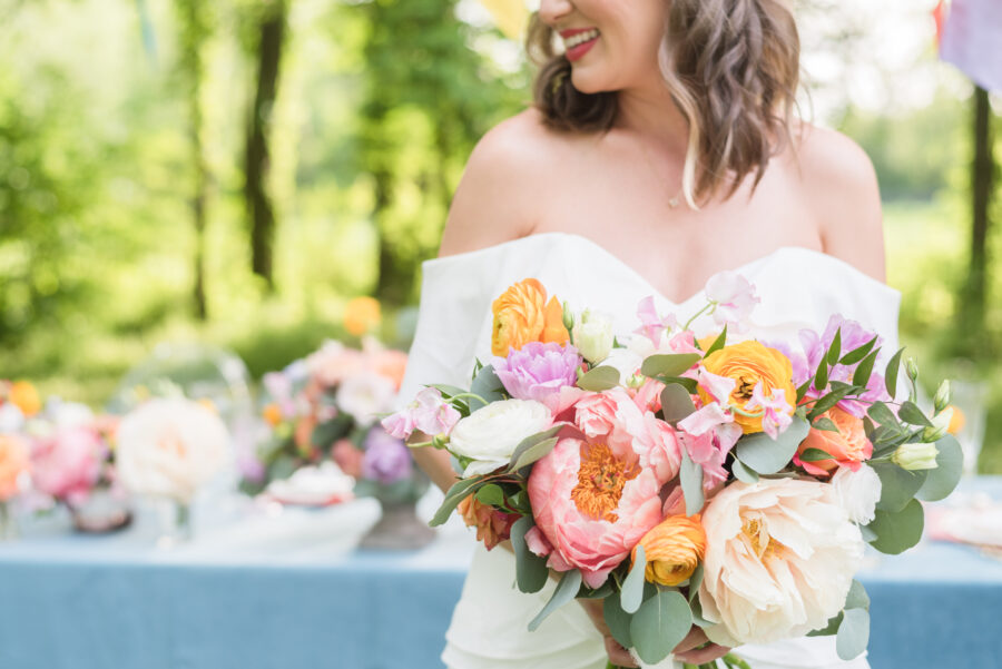 Pink, yellow, and purple wedding bouquet