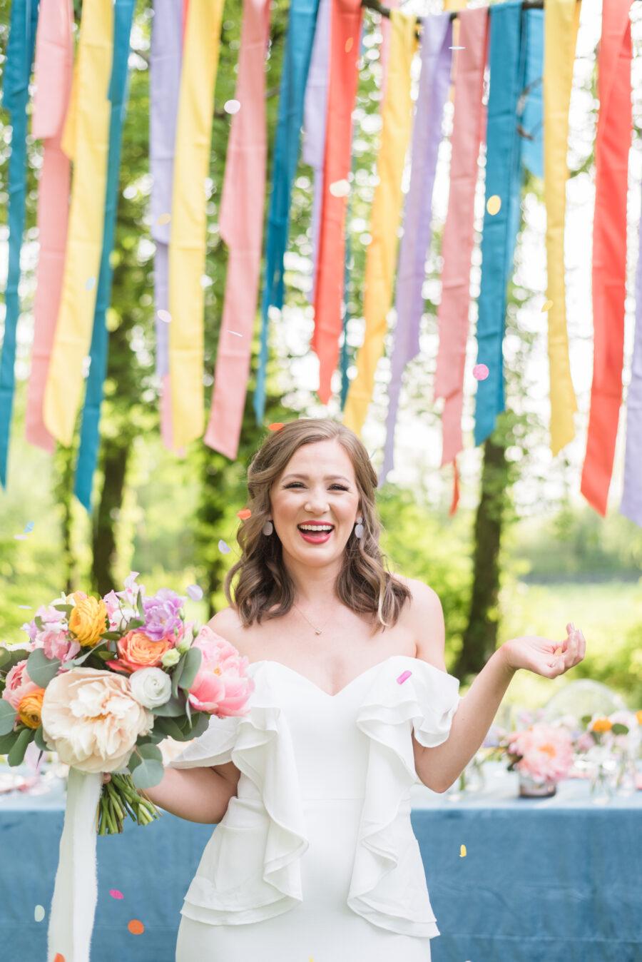 Colorful wedding confetti