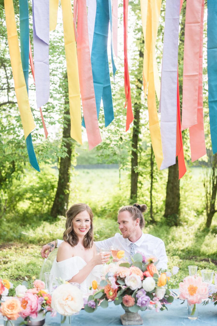 Colorful hanging wedding table decor