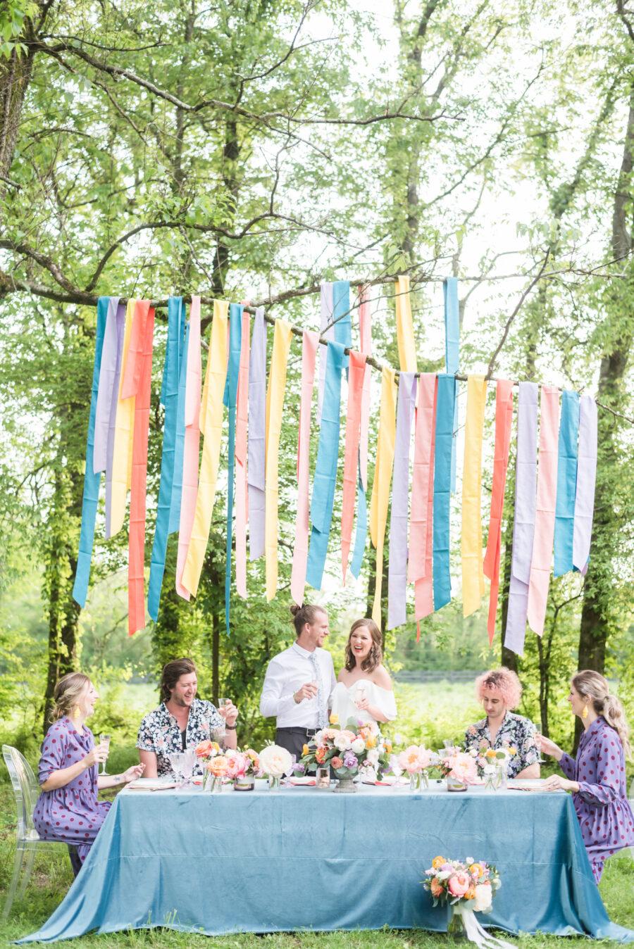 Colorful backyard wedding inspiration