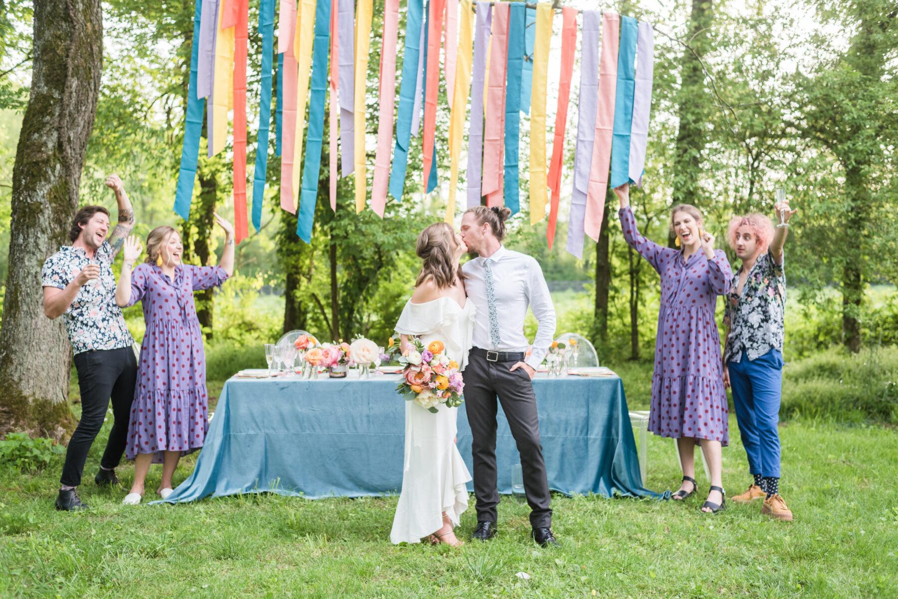 Purple polka dotted bridesmaid dresses