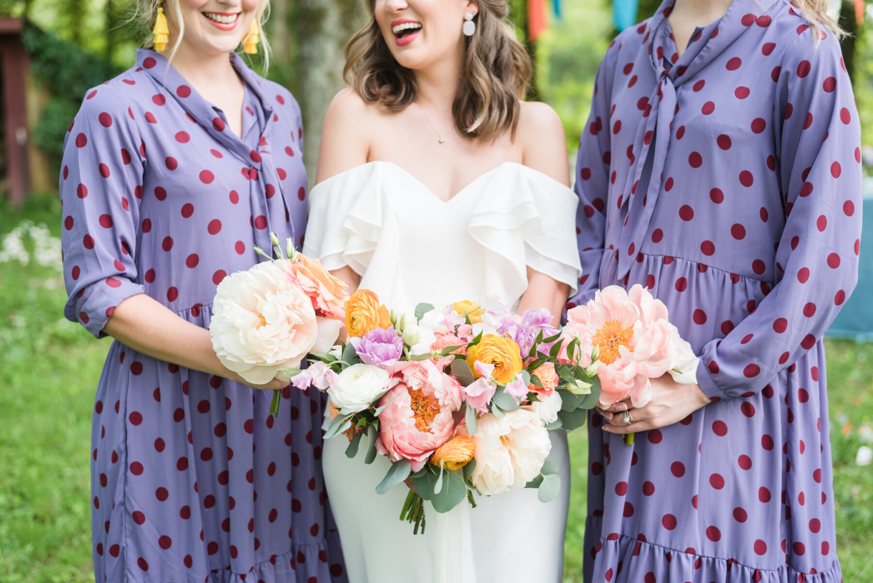 Purple and red polka dotted bridesmaid dresses