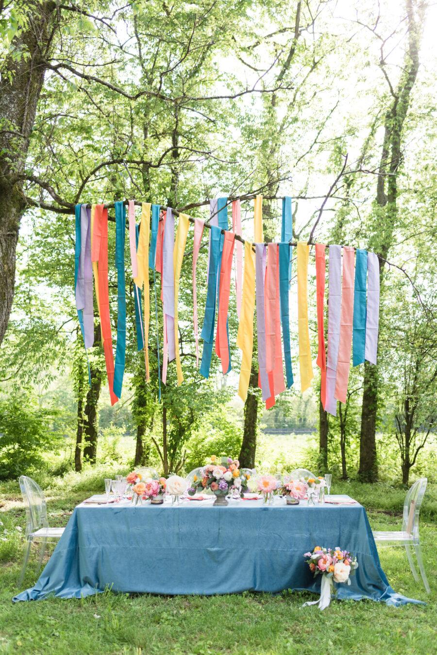 Colorful backyard wedding table decor