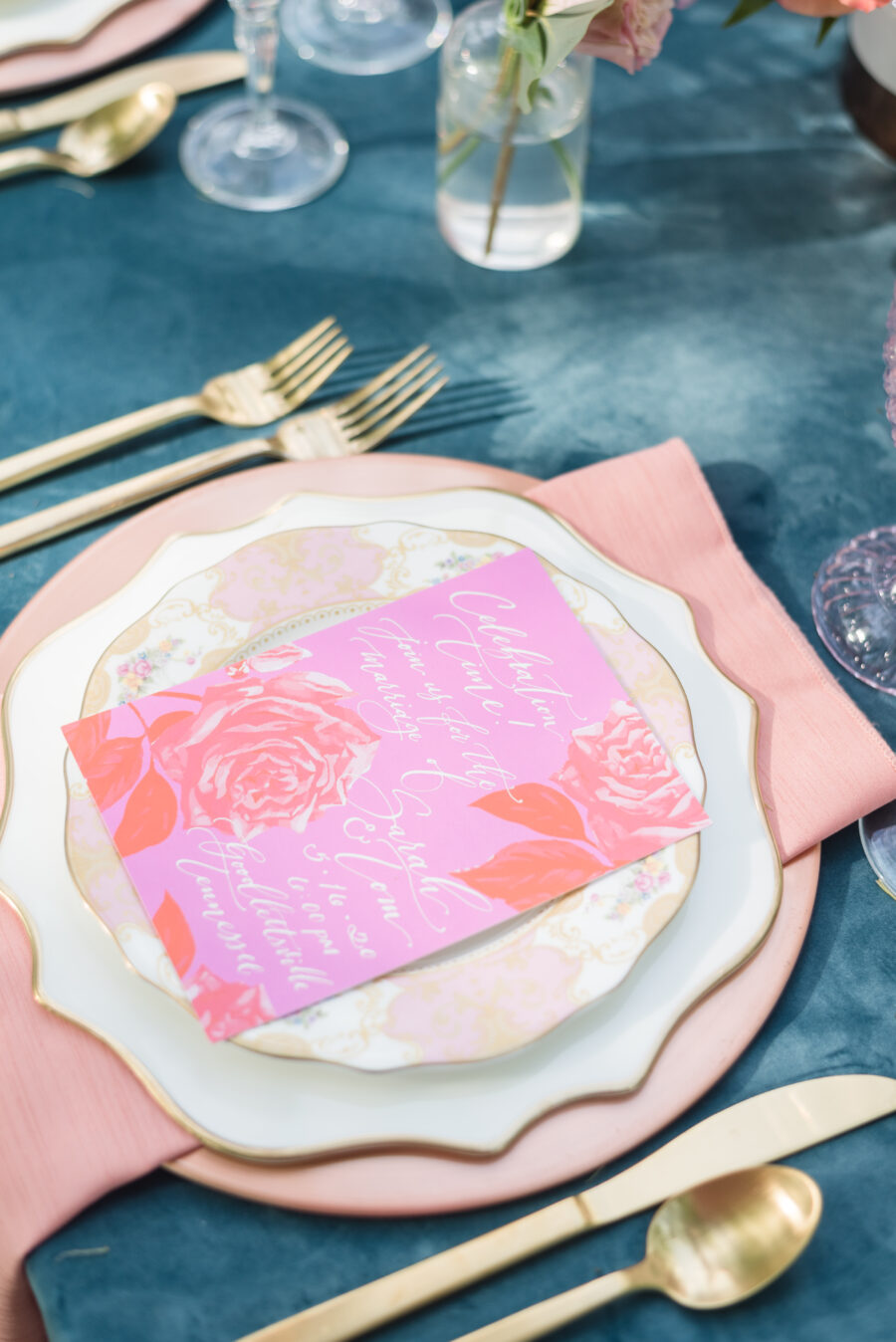 Pink and gold wedding place setting