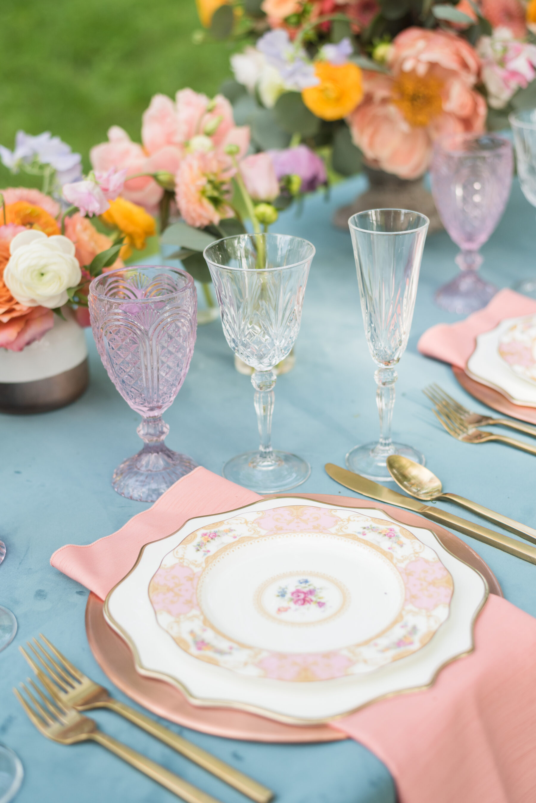 Pink and white floral wedding china