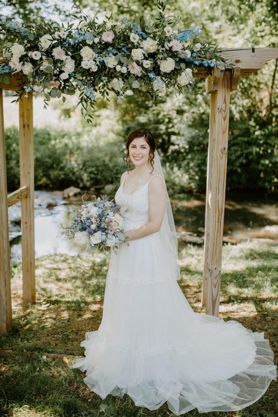 Bridal portrait: Vibrant Summer Wedding at Sinking Creek Farm featured on Nashville Bride Guide