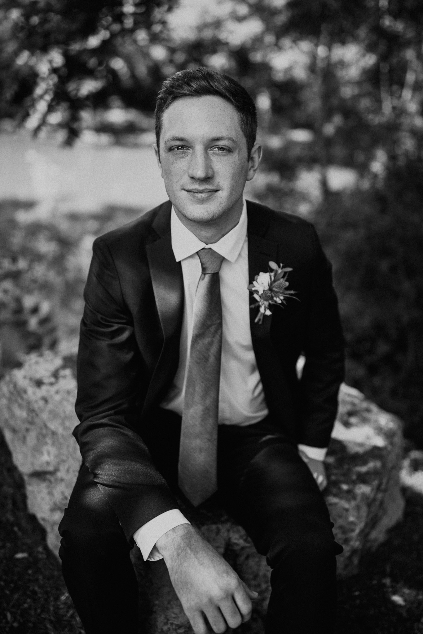Black and white grooms portrait: Vibrant Summer Wedding at Sinking Creek Farm featured on Nashville Bride Guide