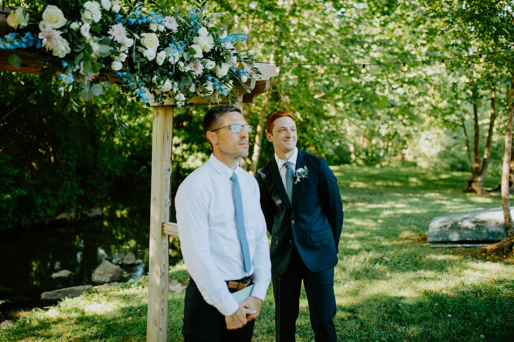 First look during wedding ceremony: Vibrant Summer Wedding at Sinking Creek Farm featured on Nashville Bride Guide