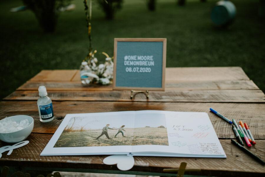 Wedding guest book: Vibrant Summer Wedding at Sinking Creek Farm featured on Nashville Bride Guide