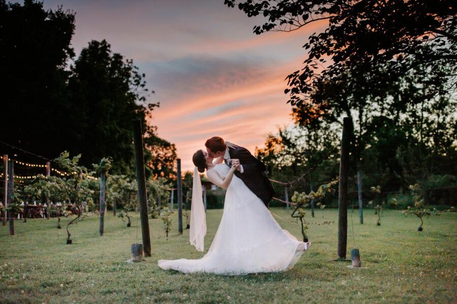 Sunset wedding photos: Vibrant Summer Wedding at Sinking Creek Farm featured on Nashville Bride Guide