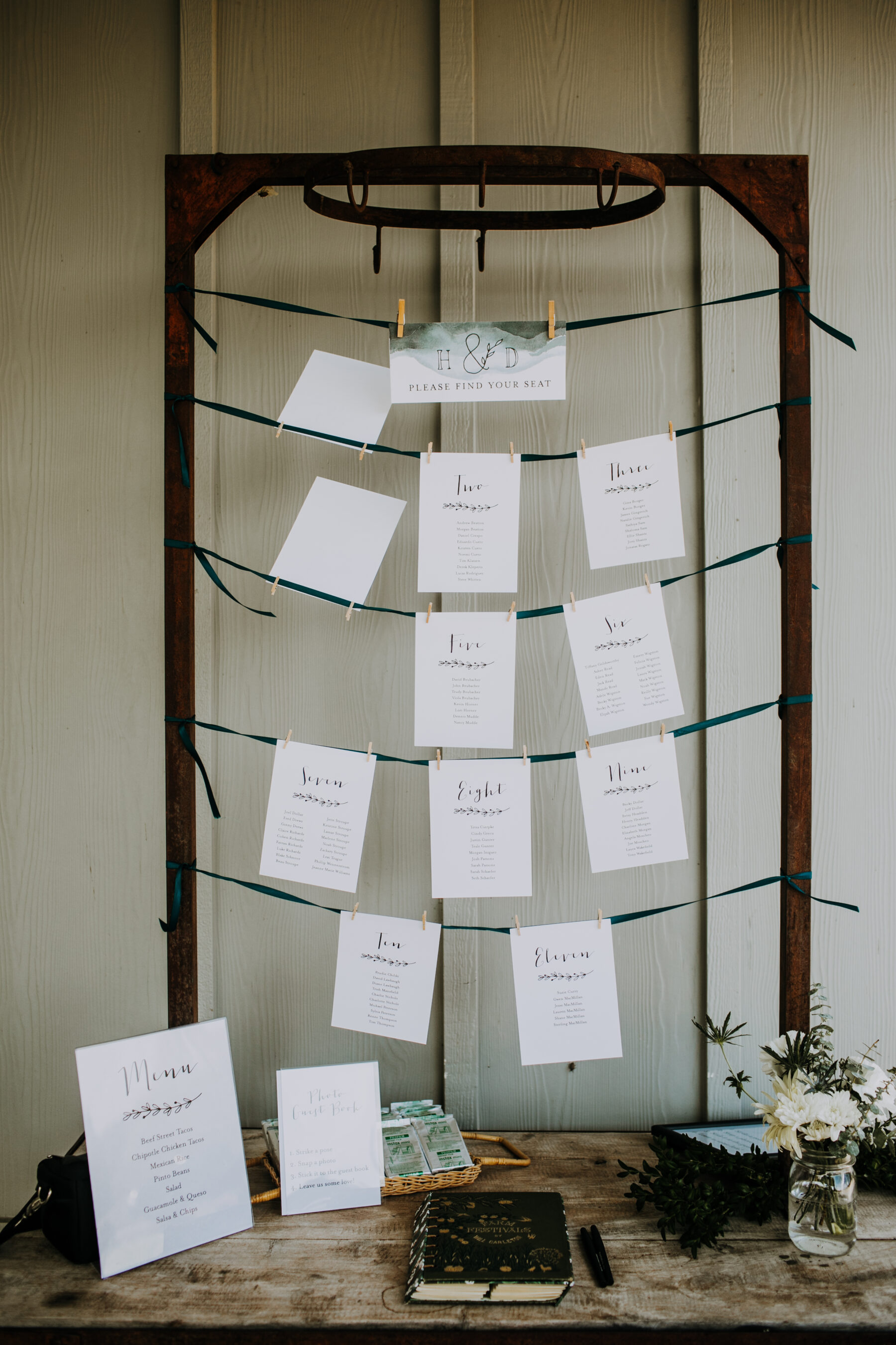 Wedding escort card ideas: Nashville Wedding with Beautiful Views by Teale Photography featured on Nashville Bride Guide