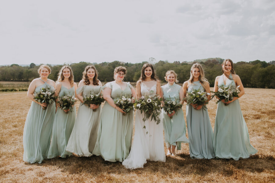 Sage green bridesmaids dresses: Nashville Wedding with Beautiful Views by Teale Photography featured on Nashville Bride Guide