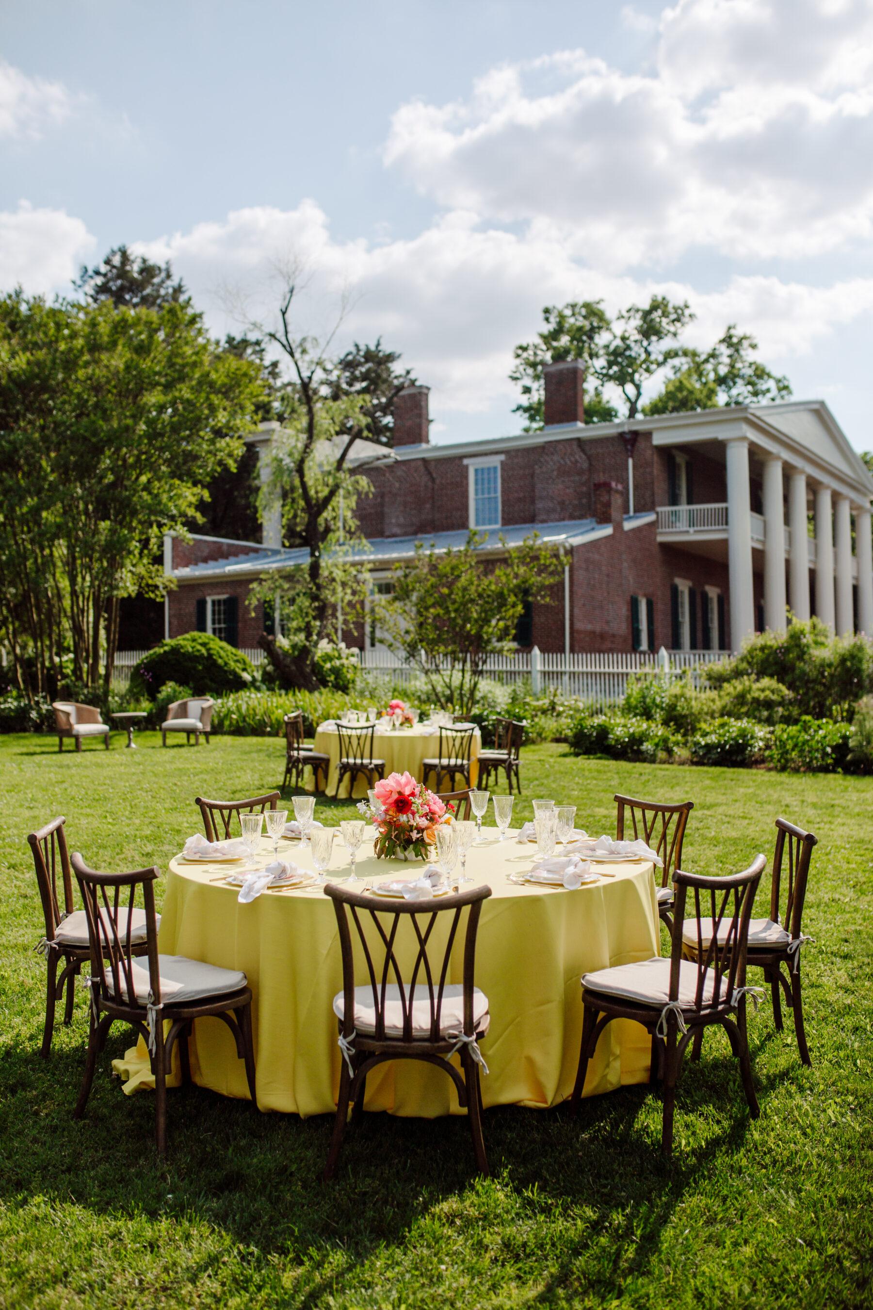 Outdoor wedding reception set up: TWESA's new consumer website launch featured on Nashville Bride Guide