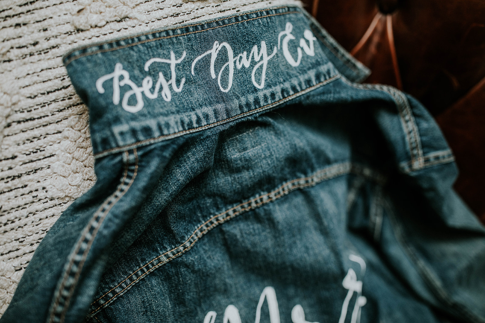 """Bridal jean jacket saying """"best day ever"""""""