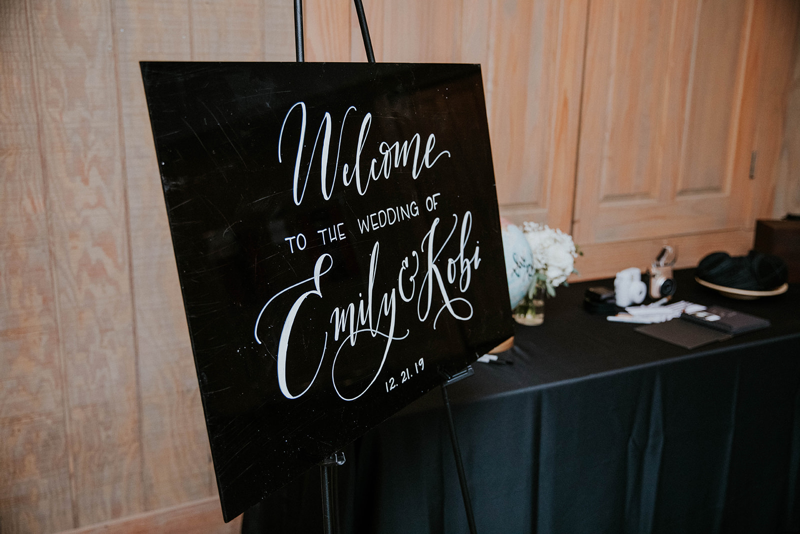 Black and white wedding sign: Timeless Loveless Barn Winter Wedding by Kendall Parsons featured on Nashville Bride Guide