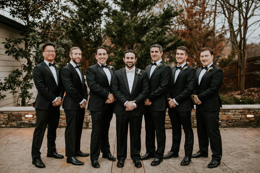 Classic black and white wedding tuxedo