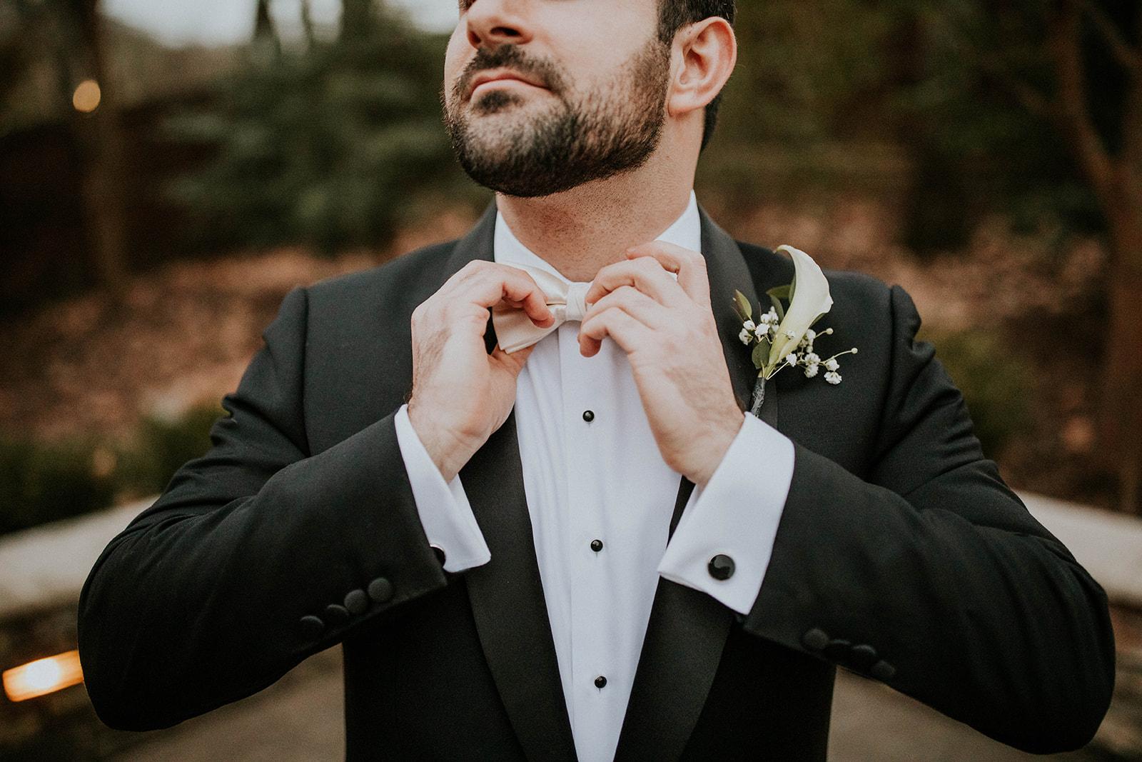 Black and white wedding tuxedo