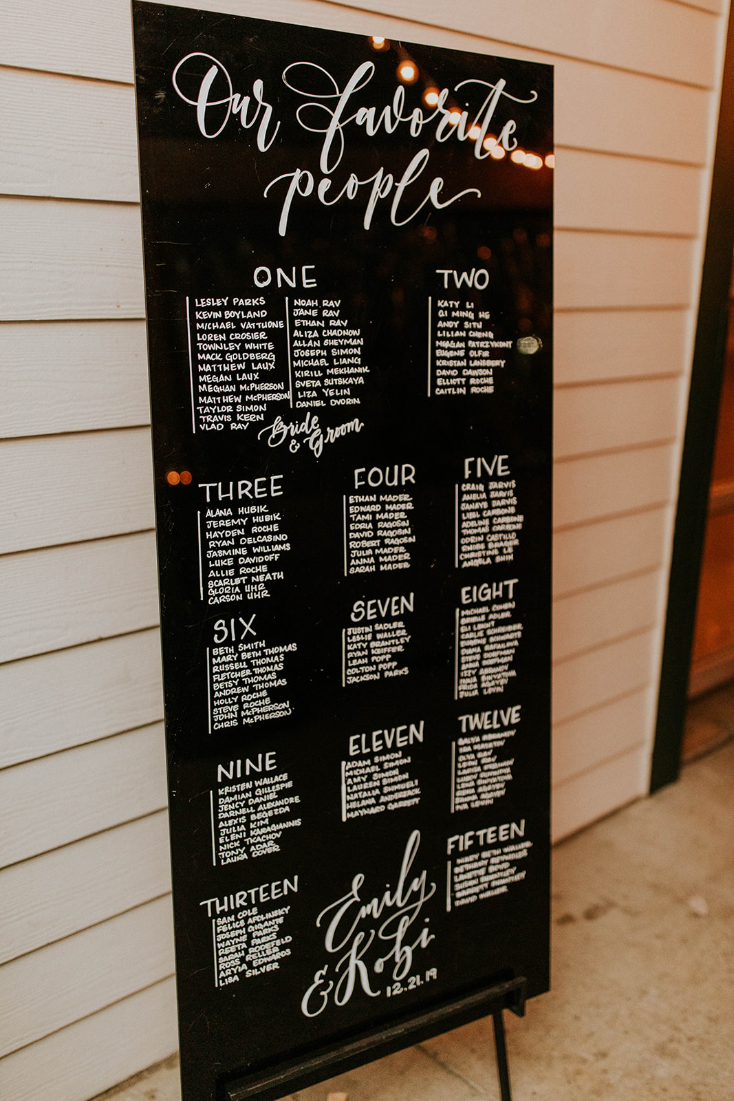 Tall black and white wedding seating display sign