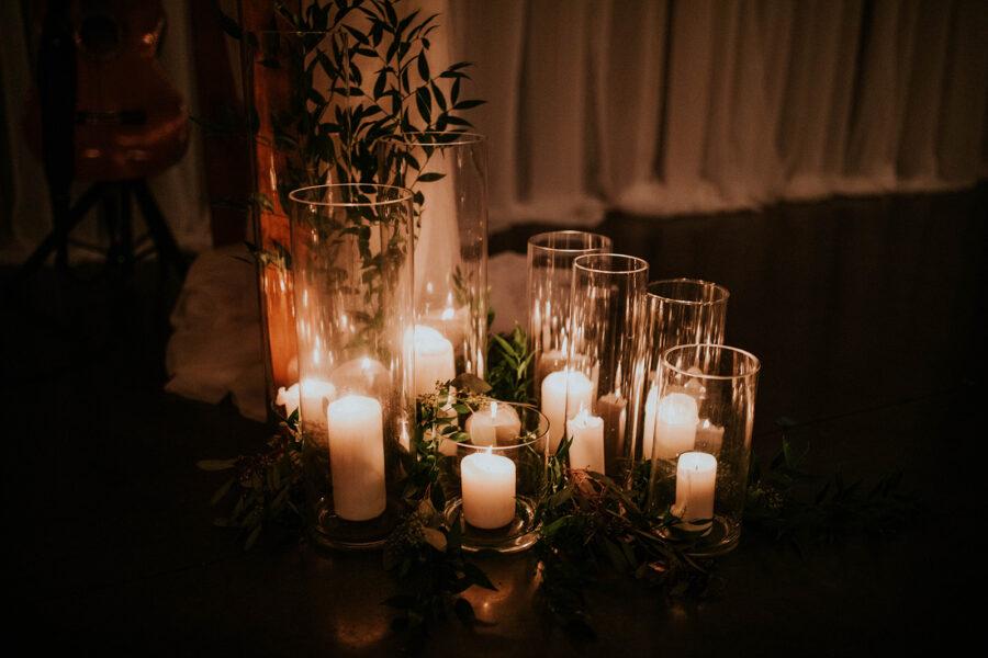 Wedding ceremony candle decor