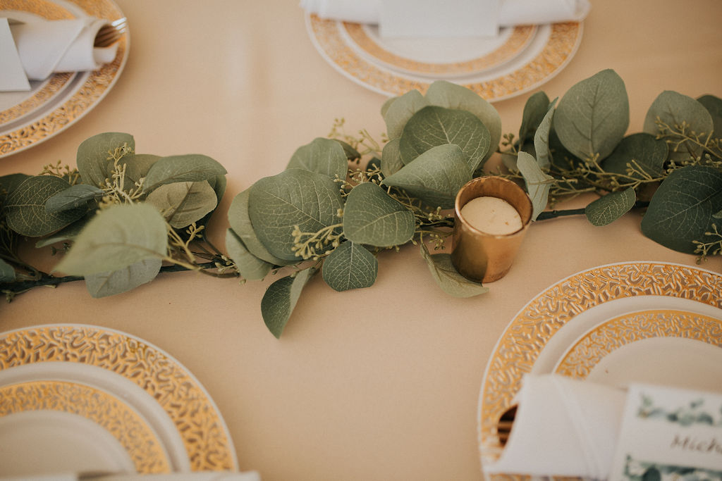 Eucalyptus wedding table runner: Romantic Outdoor Wedding at Reunion Stay featured on Nashville Bride Guide