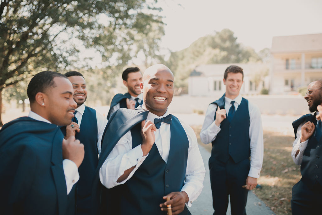 Groom with groomsman photography