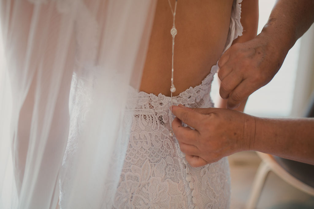Wedding dress back jewelry detail: Romantic Outdoor Wedding at Reunion Stay