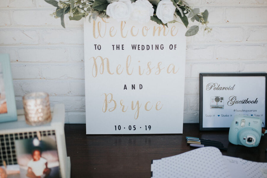 White and gold wedding welcome sign: Romantic Outdoor Wedding at Reunion Stay