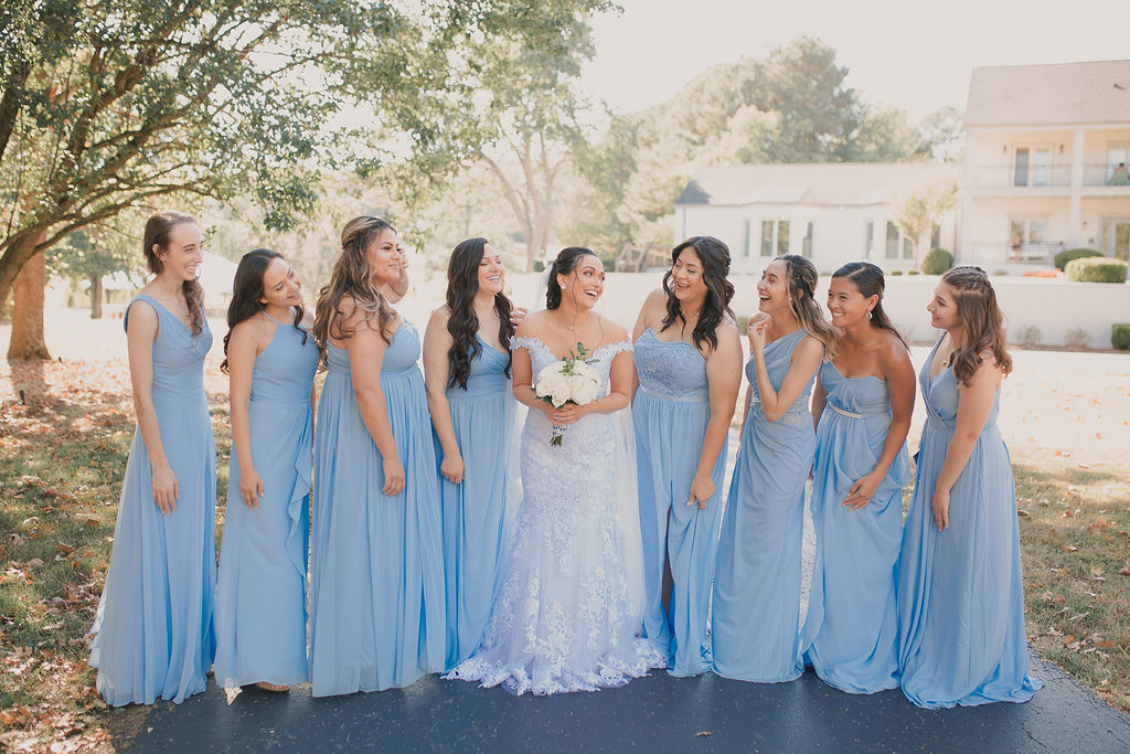 Light blue bridesmaids dresses: Romantic Outdoor Wedding at Reunion Stay