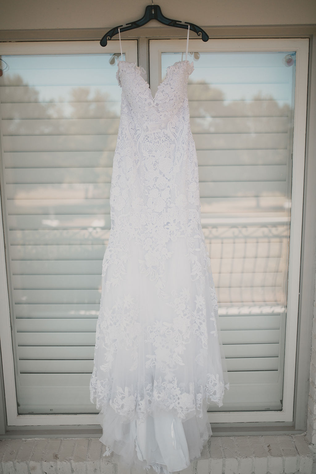 Lace wedding dress portrait: Romantic Outdoor Wedding at Reunion Stay