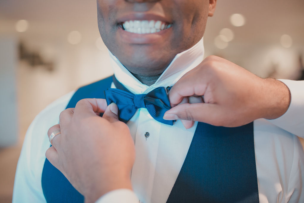 Groom's bowtie: Romantic Outdoor Wedding at Reunion Stay