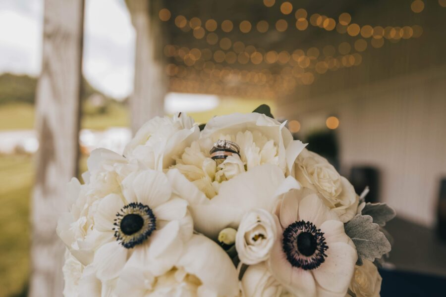 White wedding flowers: White Dove Barn Wedding by Grace Upon Grace Photography featured on Nashville Bride Guide