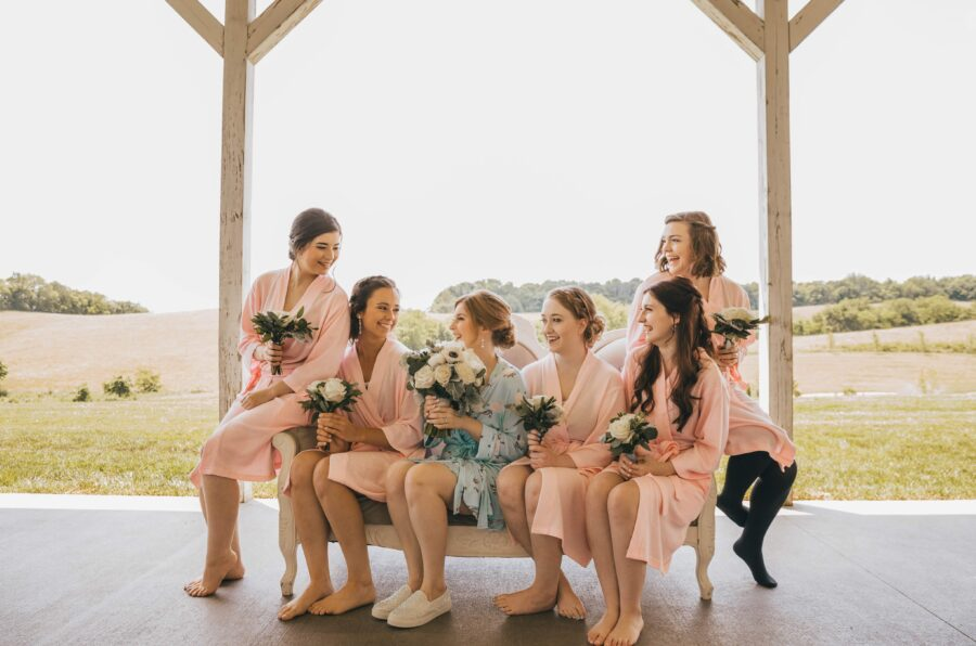 Bridal party getting ready: White Dove Barn Wedding by Grace Upon Grace Photography featured on Nashville Bride Guide