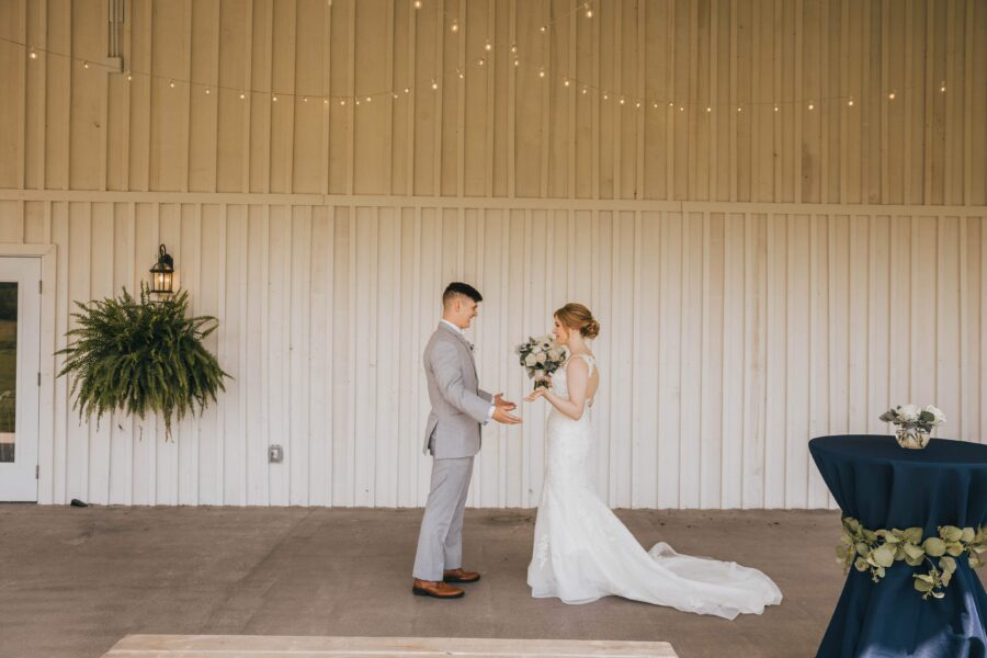 Wedding first look: White Dove Barn Wedding by Grace Upon Grace Photography featured on Nashville Bride Guide