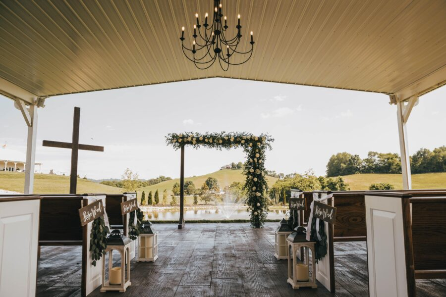 Semi-outdoor wedding ceremony White Dove Barn Wedding by Grace Upon Grace Photography featured on Nashville Bride Guide