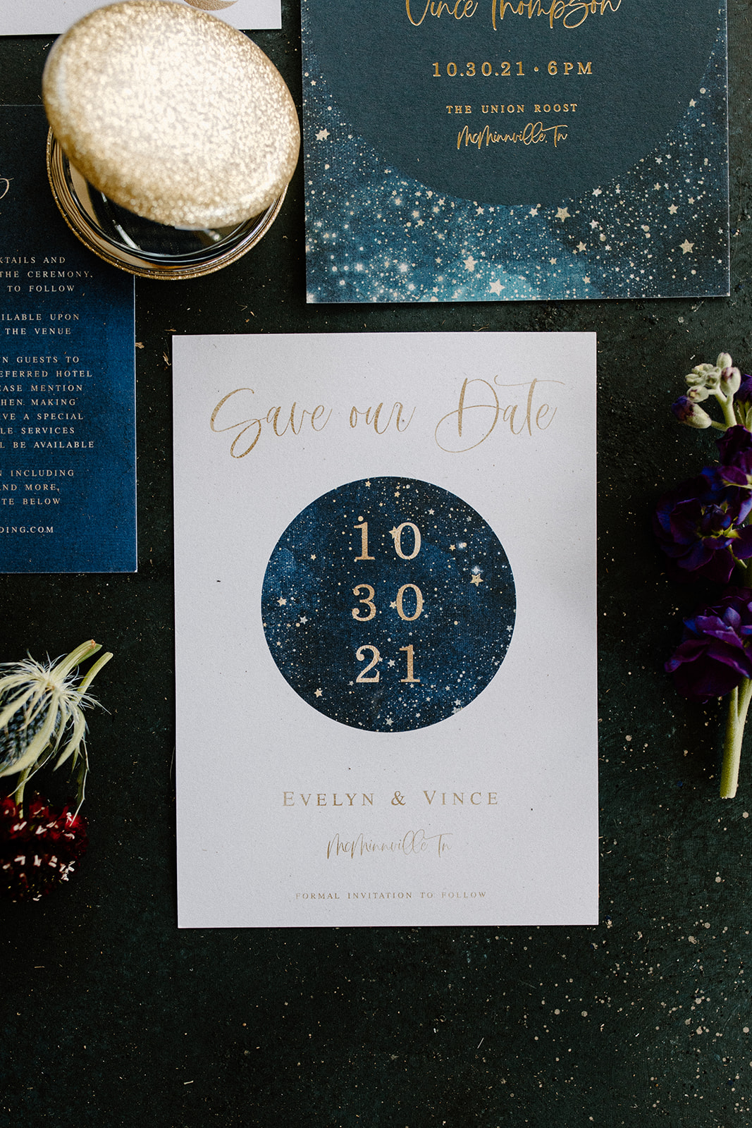 Celestial wedding save the dates